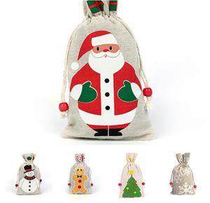Noel Hediye Çanta İpli Çanta 13 * 23 cm Xmas Santa Gingerbread ile Şeker Çuval Çanta Adam Kardan Adam Noel ağacı 5 Stypes Noel Kaynağı