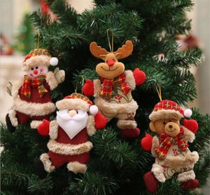 Árbol de navidad lindo Decoración colgante del oso de Santa Claus muñeco de nieve Elk muñeca Ornamentos colgantes Decoración de Navidad para el hogar TO859