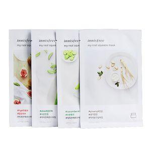 Großhandel Korea Innisfree My Real Squeeze, Gesichtsmaske, Blatt 18 Arten Oil Control Feuchtigkeitsspendende Gesichtshautbehandlung Masken Make-up-freies Verschiffen