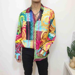 핫 2019 가을 겨울 하라주쿠 메두사 골드 체인 / 개 로즈 프린트 셔츠 패션 복고풍 꽃 스웨터 남성 긴 소매 셔츠 멋진 3D Pr