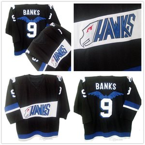 Mighty Ducks Worn Movie Jersey Hawks #9 Adam Banks Jersey Mens 100% Stitched Embroidery Shirt Hockey Jerseys Black Color Free Shipping