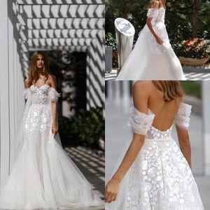 Omuz Dantel Aplike Gelinlik Plaj Açık Gelin Elbise Backless Gelinlikler vestidos de novia Kapalı 2020