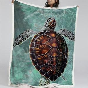 HM Leben Meeresschildkröte Wurfdecke Marinetier Sherpa Fleece Blanket Schildkröte Fisch gedruckt Ozean Plüsch Bettwäsche Tourismus Trage