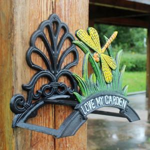 Cast Iron Hose Titular Dragonfly Mangueira decorativa Reel Hanger antigo Jardim Mangueira stand montado na parede Lawn Início Jardim Equipamento de Jardinagem