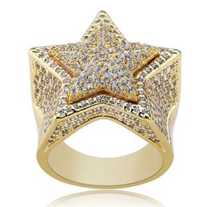 Hip hop estrela diamantes anéis para homens luxo cristal anel de prata de ouro 18 k banhado a ouro zircão cobre anel jóias presentes para bf frete grátis