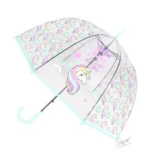 Crianças Umbrella Unicorn Transparente chuvas Crianças Laser Umbrella bonito Alpaca Girl Cartoon Umbrellas Sakura Dropshipping Y200324