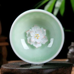 100% novíssimo Celadon Chinese Kung Fu Tea Set Lotus Pu 'er Tea Cups Mão -Painted Cerâmica Dragão gravado Peony Carpa Peixe dourado copos de chá