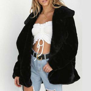Femmes d'hiver Ours en peluche de poche Manteau Fluffy Toison fourrure Vestes Manteaux