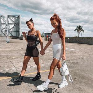 Womens Fishnet malha ver através Sexy Vestidos Verão Festival Roupa Beach Party Preto Branco Mini Vestidos BODYCON