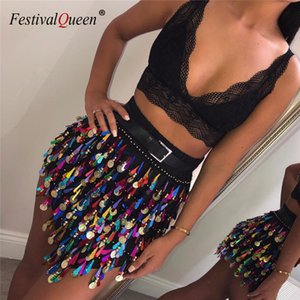 FestivalQueen Atraente Sequins Tassel Praia Mini Saia Mulheres Sexy Summer cintura alta Partido Básico Clube saias curtas para Lady