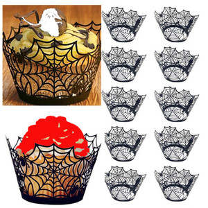 12 unids / lote Black Spider Web Paper Cap Halloween Hollow Out Paper Cup Ring Ring Cup Pumpkin Horror Castle Party Decoration Cake Wrap BH2043ZX