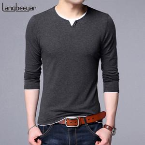 Yeni Moda Marka Tshirt Erkek Kore Pamuk Tops Streetwear Trend Düz Renk Uzun Kollu Erkek Arkadaşı Hediye T-shirt Erkek Giyim J190525