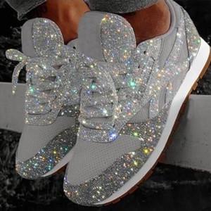 Alta calidad barato zapatos de las mujeres de lujo de la zapatilla de deporte del cuero del bajo-top Ejecución de Formadores con las lentejuelas de otoño de los zapatos ocasionales grandes del tamaño 35-43