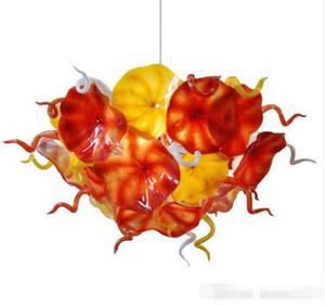 Soffiato Piastre di disegno del fiore della catena della mano Lampadario in vetro Illuminazione Arancione Giallo LED Light Fixture Chandelie