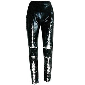 Donne bende nere hallow punk pantaloni di pelle roccia con il cinturino merletti in sui pantaloni leggings gotiche più dimensioni hallow sexy omighty
