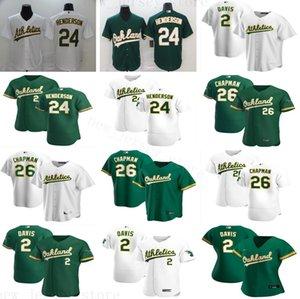 2020 Yeni Sezon Beyzbol 24 Rickey Henderson Formalar Dikişli 2 Khris Davis 26 Matt Chapman En İyi Kalite Beyaz Yeşil Formalar