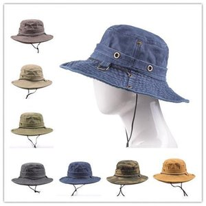 2020 Fisherman's Hats for Men and women Washed Cotton Embroidery Visor Mesh Bucket Hats Fisherman Hat Outdoor Climbing Capcac7#