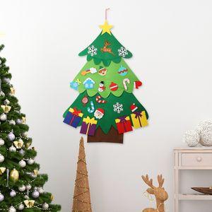 Chrismas Tree Wall Hanging Decorations With 22 Pcs Detachable Ornaments Santa Claus Elk