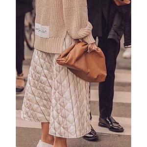 Diseñador-38cm Gran bolsa de cuero del bolso de las mujeres suaves de alta calidad de la manera de lujo del diseñador del bolso de embrague del bolso de hombro grande Señora acanalada Nube