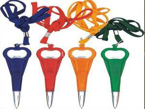 Bottle Opener Pen with String 2 in 1 Beer Wine Openers Pen Plastic with String Short Ballpoint Pen