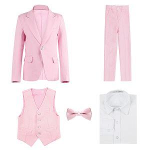 High quality Children's suit pink spring and autumn Korean boy suit student costumes children wedding flower girl dress boy