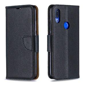 Para RED MI7 2019 Stand Design Carteira Estilo Pure Color Leather Case Phone Bag Capa Com phone case e titular do cartão B050
