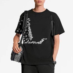 Imprimé avion Monogram Tendance Mode T-shirt d'été respirant T Casual Simple Hommes Femmes Rue du cou à manches courtes HFHLTX118