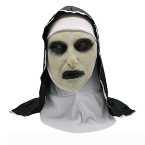 A New The Nun Cosplay Mask Costume Latex Prop Helmet Valak Halloween Scary Horror Conjuring Scary Toys Party Costume Props