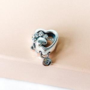 2020 Novo 925 Prata Sparkling cópia da pata Coração Bead charme único estilo europeu jóia de Pandora Colar Pulseiras