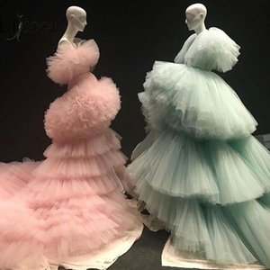 New Mint Green Tiered Ruched Long Evening Dresses Ruffles Peach Pink Puffy Tutu A Line Prom Gowns Abendkleider