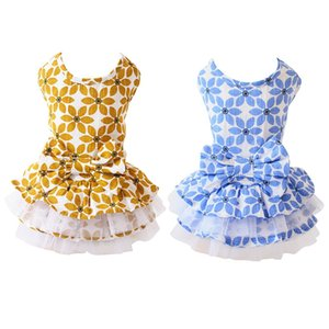 Pet Spring Summer Pleated Dogs Dress Cotton Clothes For Dog Girls Small Medium Dog Maple Leaves Puppy Skirt