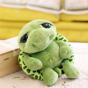 Venta al por mayor nuevo 20 cm muñeca de peluche Super verde grandes ojos rellenos tortuga tortuga animal de peluche regalo del juguete del bebé