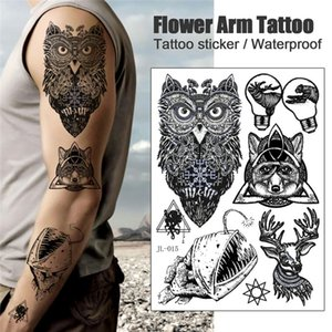 Waterproof Temporary Tattoo Sticker Snake Flower Rose Flash Tattoos Lace Lion Tree Body Art Arm Fake Sleeve Tattoo Women