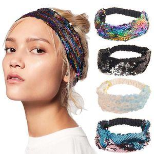 Eco-friendly Lantejoula Meninas Reversible Headband Mermaid Elastic tecido Hairband cabeça larga Band para Feminino Mulheres Acessórios de cabelo