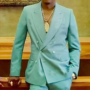 African Mint Green Double-breasted Mens Suits Formal Party Peak Lapel Coat+Pant 2 Pieces Wedding Tuxedos Groom Wear