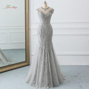 wholesale Sexy O Neck Gray Long Mermaid Prom Dresses 2019 Luxury Beaded Crystal Vintage Trumpet Party Gown Vestido De Festa