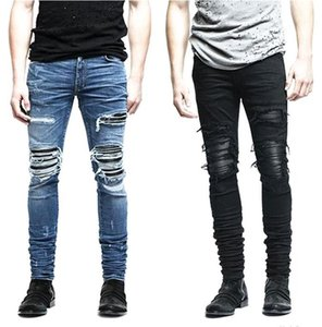 Wholesale-New Men's Jeans Clothing Zipper Skinny Motorcycle Jeans Men Slim Fit Retro Ripped Blue Jeans