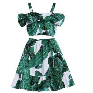Vieeoease Girls Sets Leaf Kids Clothing 2019 Summer Straps Top + Falda Trajes de niños 2 pzas CC-390