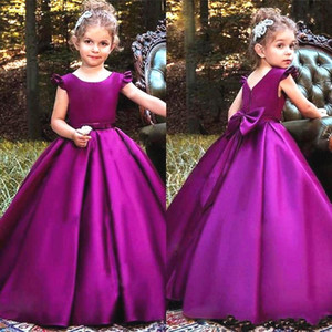 Ball Gown Graoe 2019 Little Girls Pageant Dress Cap Sleeve Lovely Bow Back Piano Lunghezza Bambini Prom Dresses Flower Girl Dress Custom Made