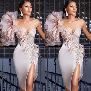 Dress 2020 nuovo sexy breve abiti da cocktail Blush Pink Lace Appliques in rilievo Fiori laterale Split raso ginocchio lunghezza del partito degli abiti di ritorno a casa di promenade