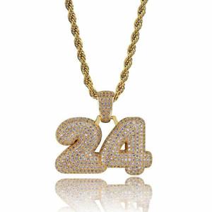 mens gioielli di design di lusso collana di lusso di modo Bling zircone placcato oro 18K Numero di rame 24 Hip Hop Collana