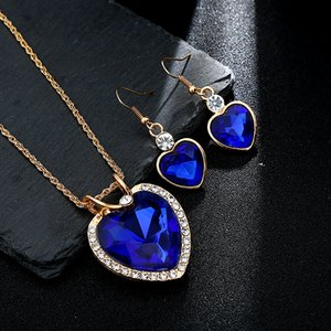 Jewelry Sets Crazy Feng Women's Heart Style Wedding Jewelry Sets Cubic Pendant Necklace Hook Earrings Set for Women Valentine's Day Gift