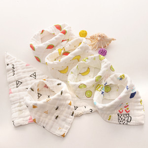 Baby Bibs Cartoons INS Bibs Burp Cloths Foral Printed Cotton 8 layer bibs Bandana Infant Saliva cloth Triangle Towel 15styles GGA2024