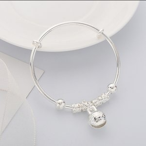 Good Luck Beads Flower Pattern Bell Bracelet Silver Plated Cuff Bracelet Charm Bangle Gift Girls Women Jewelry