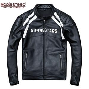 MAPLESTEED Protecteurs installable veste moto hommes 100% cuir de vache épais Moto Club Veste Manteau motard hommes d'hiver 4XL M015