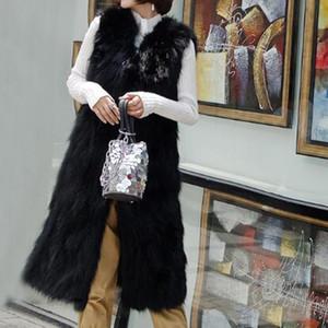 2019 Nouveau Top Marque TONFUR Genuine épais long Personnaliser Taille Plus réel fourrure de raton laveur Gilet femme Gilet détail en gros fourrure