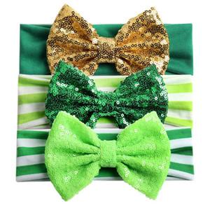 Irlande St Patricks Bandeau 5 pouces Infant rayé Paillettes Bow Bandeaux enfants irlandais Shamrocks Day Band cheveux de bébé 06