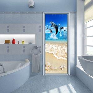 PVC Self-Adhesive Waterproof Door Sticker 3D Beach Dolphin Animal Wallpaper Living Room Toilet Door Stickers Home Decor 3D Paste