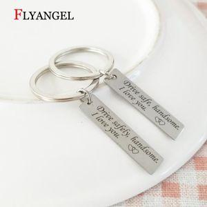 Moda Drive Safe / sicura Gioielli Bello I Love You portachiavi di Keychain per gli accessori auto chiave regalo Fidanzato Marito Uomo