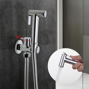 1 개 세트 솔리드 황동 단일 차가운 물 코너 밸브 비데 기능 원통형 핸드 샤워와 탭 크레인 90도 전환